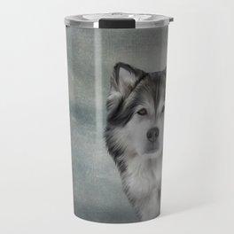 Drawing Dog Alaskan Malamute Travel Mug