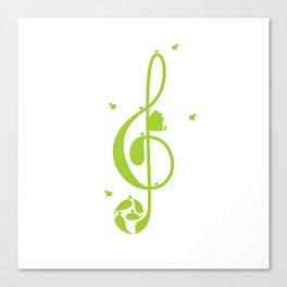 Treble clef and birds Canvas Print