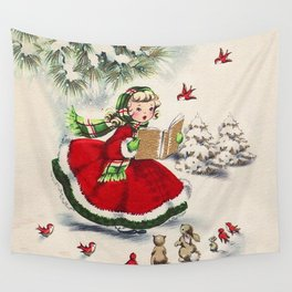 Vintage Christmas Girl Wall Tapestry
