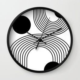 Modern Minimalist Line Art in Black and White Wall Clock