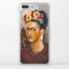 Contemporary Frida Kahlo Portrait Clear iPhone Case