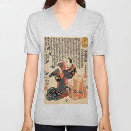 A Cat dressed as a Woman tapping the Head of an Octopus by Utagawa Kuniyoshi Unisex V-Neck