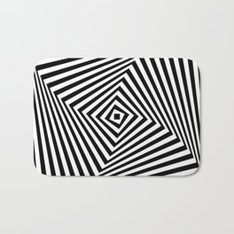 Op art rotating square in black and white Bath Mat