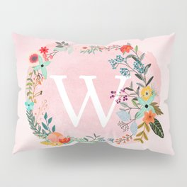 Flower Wreath with Personalized Monogram Initial Letter W on Pink Watercolor Paper Texture Artwork Pillow Sham