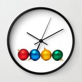 Colorful Christmas balls Wall Clock
