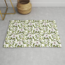 White Clematis Watercolor  Rug