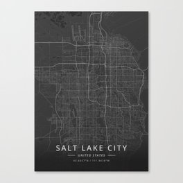 Salt Lake City, United States - Dark Map Canvas Print