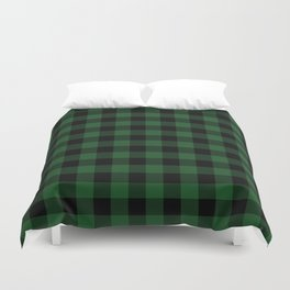 Jumbo Forest Green and Black Rustic Cowboy Cabin Buffalo Check Duvet Cover
