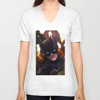 batgirl V-neck T-shirts featuring Batgirl by Nicole M Ales
