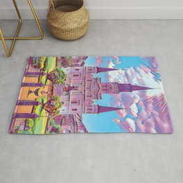 Colorful Iconic New Orleans French Quarter Architecture and Green Nature with Light Blue Sky Clouds Rug