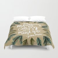 the mountains are calling Duvet Covers featuring Mountains Calling – Kraft by Cat Coquillette