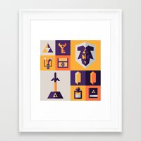 legend of zelda Framed Art Prints featuring Legend of Zelda Items by Ann Van Haeken