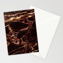 Marble, Masala Red + Faux Gold Veins Stationery Cards