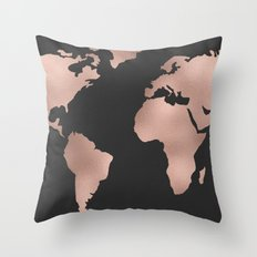 Rose Gold World Map on Dark Gray Throw Pillow