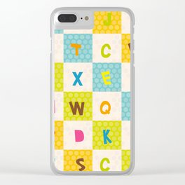 alphabet  from A to Z. Polka dot background with green blue orange square Clear iPhone Case