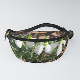 Snowdrops in the garden sunshine Fanny Pack