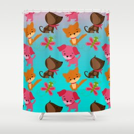 Kitty and Puppy Pattern Shower Curtain