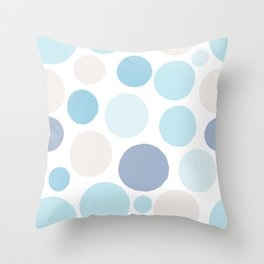 Abstract Circles - Blue and Grey Bubbles Throw Pillow