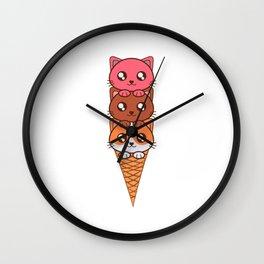 An Ice Cream Cat Theme T-shirt Design Sweets Cold Cream Creamy Iced Ice Sweet Bell Lollipop  Wall Clock