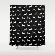 Black Bunny Shower Curtain