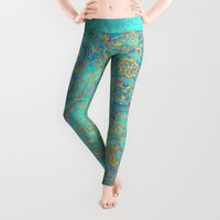 mint Leggings featuring Sapphire & Jade Stained Glass Mandalas by micklyn