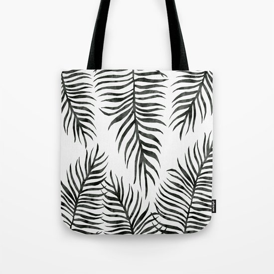 Black Fern Pattern Tote Bag