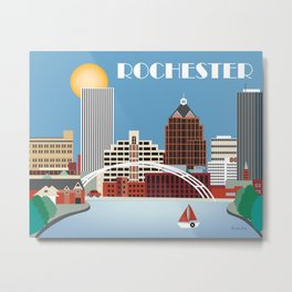 Rochester, New York - Skyline Illustration by Loose Petals Metal Print