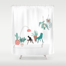 Cat relaxing in the living room among plants Shower Curtain