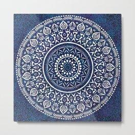 Blue and White Mandala - LaurensColour Metal Print