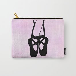 Black Ballet Shoes En Pointe Silhouette on Pink Carry-All Pouch