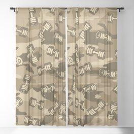 Dumbbell Gym Camo DESERT Sheer Curtain
