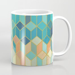 Colorful Squares with Gold - Friendly Colors and Marble Texture Coffee Mug
