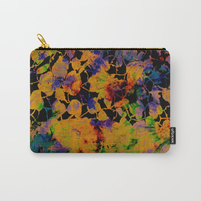 bright abstract floral on black background Carry-All Pouch