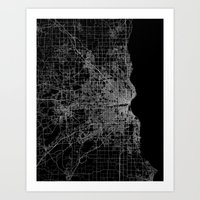 milwaukee Art Prints featuring milwaukee map by Line Line Lines
