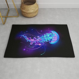 Large Glowing Jellyfish Rug