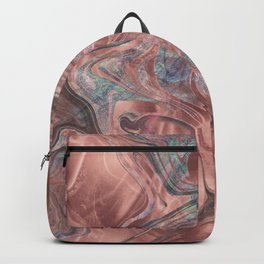 Marble Paint Swirl Trendy Abstract Glitter Rose Gold Pink Backpack