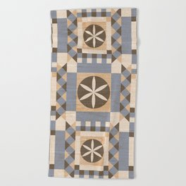 Geometric seamless ornament with a mosaic pattern in the Scandinavian style of Hugge blue and white color with the texture of wood. Beach Towel