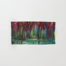 Red Trees Thick Impasto Abstract  Painting Hand & Bath Towel