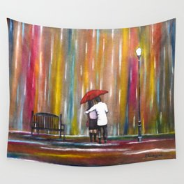 Love in the Rain romantic painting by Manjiri Kanvinde Wall Tapestry