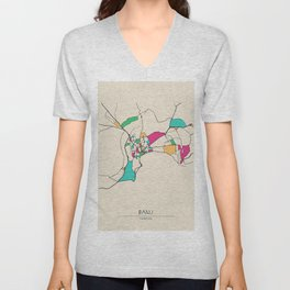 Colorful City Maps: Baku, Azerbaijan Unisex V-Neck