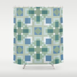 Gentle Shaded Plaid Shower Curtain