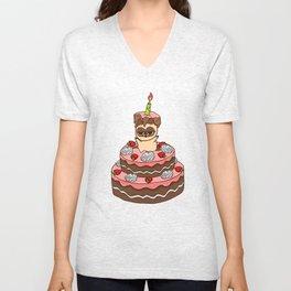 Happy BirthDay food  cake Unisex V-Neck