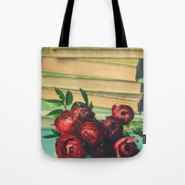 Books and Flowers Tote Bag