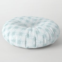 Aqua Green Snowflake Pattern Floor Pillow