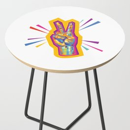 Raise a Peace Sign (Yellow Glow)  Side Table