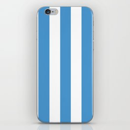 Celestial blue - solid color - white vertical lines pattern iPhone Skin