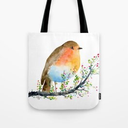 Watercolor Robin on Berry Branch Tote Bag