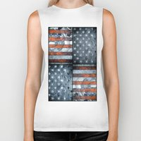 american flag Biker Tanks featuring American flag by Bekim ART