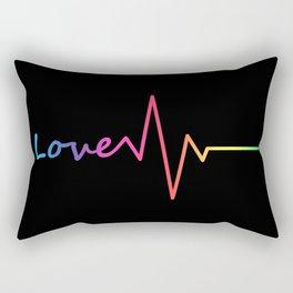 Rainbow Love Heartbeat Rectangular Pillow