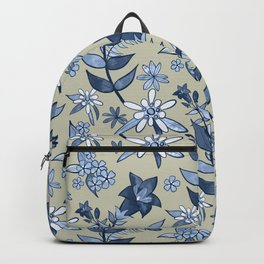 Monochrome Tan and Blue Alpine Flora Backpack